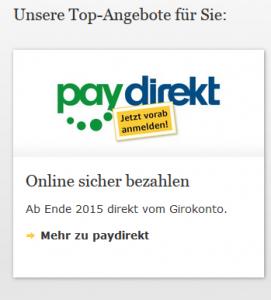 So wirbt die CoBa bei ihren Online-Banking-Kunden für Paydirekt.